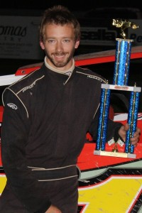 Justin Comes in victory lane at Devil's Bowl Speedway on September 4, 2016.  (Andrew Cassidy/Devil's Bowl Speedway photo)