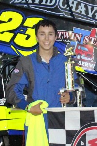 Austin Chaves in victory lane at Devil's Bowl Speedway on August 6, 2017.  (Barry Snelling/Devil's Bowl Speedway photo)