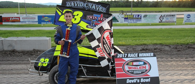 Austin Chaves in victory lane at Devil's Bowl Speedway on June 25, 2017.  (Barry Snelling/Devil's Bowl Speedway photo)