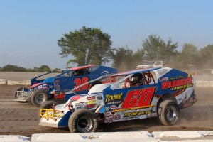 Jimmy Ryan (#60) races with Brian Whittemore (#36) at Devil's Bowl Speedway on August 20, 2017.  (Barry Snelling/Devil's Bowl Speedway photo)