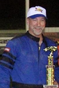 Jimmy Ryan in victory lane at Devil's Bowl Speedway on September 17, 2017.  (Barry Snelling/Devil's Bowl Speedway photo)