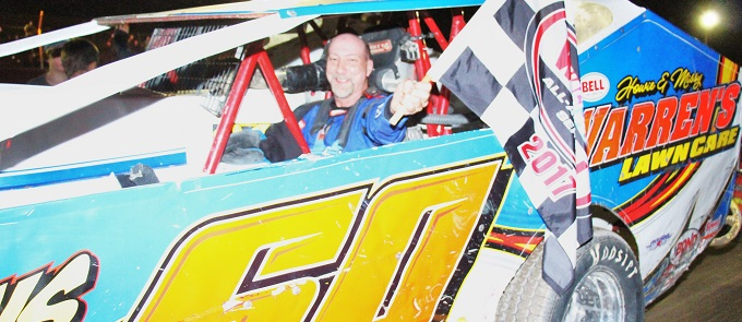 Jimmy Ryan in victory lane at Devil's Bowl Speedway on August 13, 2017.  (Barry Snelling/Devil's Bowl Speedway photo)