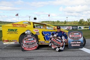 Ron Proctor in victory lane at Devil's Bowl Speedway after winning the 2012 track championship.  (MemorEvents photo)